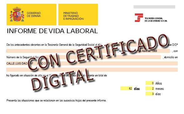 Consultar el informe de vida laboral tasa de paro - Oficinas certificado digital ...